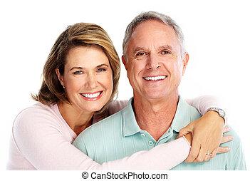 Feliz pareja de ancianos enamorados.