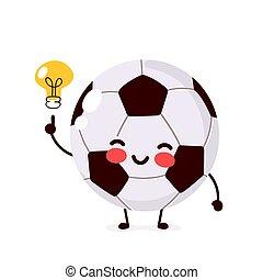 Feliz pelota de fútbol con bombilla