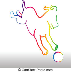 Feliz perro arco iris con logotipo