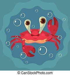 Feliz personaje de cangrejo lindo. Ilustración plana de dibujos animados