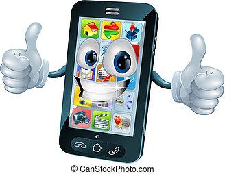 Feliz personaje de la mascota móvil