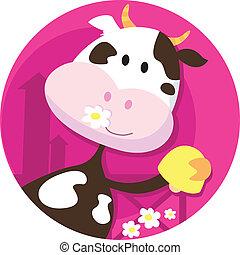 Feliz personaje de vaca con campana