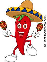 feliz, pimienta, estropear, chile, bailando