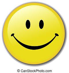 Feliz placa de botón sonriente