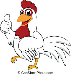 Feliz pollo blanco con OK