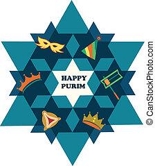 Feliz purim. David Star con objetos de vacaciones judías