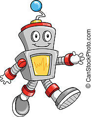 feliz, robot, vector, lindo