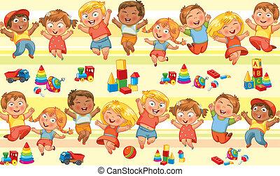 feliz, saltar, niños, manos de valor en cartera