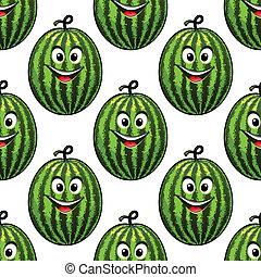 Feliz sandía verde sin costura