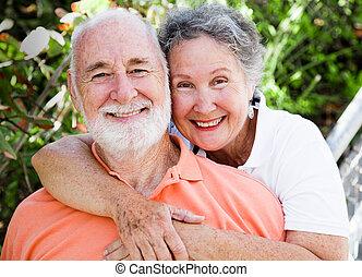 feliz, sano, pareja, 3º edad