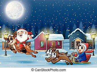 Feliz Santa Claus montando un reno con un niño en un trineo tirado por un perro en la noche de invierno