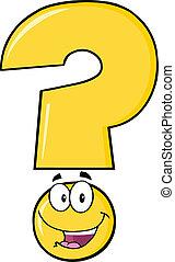 feliz, signo de interrogación, amarillo