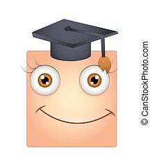 Feliz Smiley con gorra de graduación