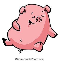 feliz, soñoliento, cerdo