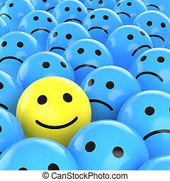 Feliz sonrisa entre los tristes