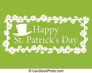 Feliz St. Patrick. Frame con trébol y texto. Ilustración de vectores