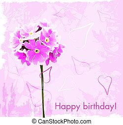 Feliz tarjeta de cumpleaños con flores rosas