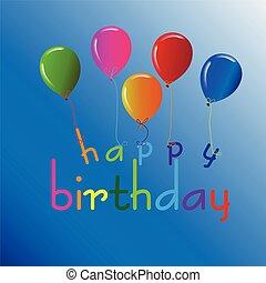 Feliz tarjeta de cumpleaños con globos