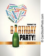 Feliz tarjeta de cumpleaños con una botella de champán explosión de deseos palabras