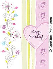 Feliz tarjeta de felicitación floral de cumpleaños
