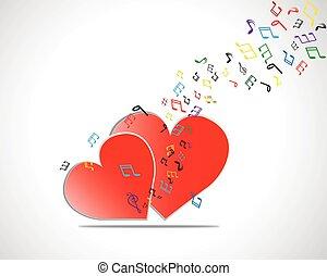 Feliz tarjeta de San Valentín con corazón, notas musicales. Ilustración de vectores