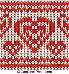 Feliz tarjeta de San Valentín con corazón tejido, ilustración vectorial