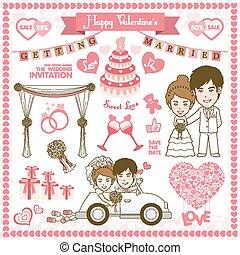 feliz, tarjeta, valentine