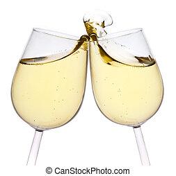 feliz, tostada, aislado, fondo., year., alegre, nuevo, par, elaboración, blanco, champaña, navidad, flautas