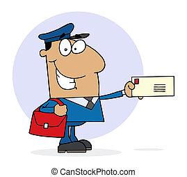 Feliz trabajador postal hispano