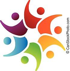 Feliz trabajo en equipo 6 logotipo de imagen