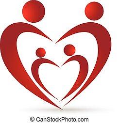 Feliz unión familiar en un logo de corazón
