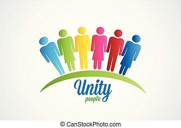 Feliz unidad la gente logo vector