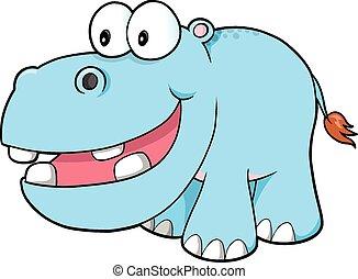 feliz, vector, arte, hipopótamo