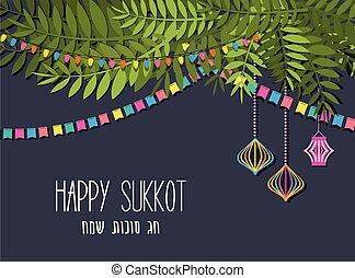 feliz, vector, feriado, tradicional, judío, sukkot., sukkah, ilustración, hebreo, sukkot, saludo