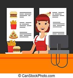 Feliz vendedora de comida rápida en uniforme con caja registradora. El vendedor de bocadillos en Luncheonette, hamburguesa con papas fritas pizza - ilustración de vectores planos