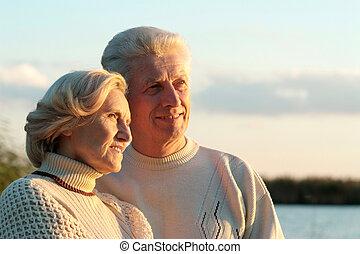 feliz, viejo, pareja