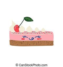 Feliz y deliciosa pieza de caricatura de pastel, adorable postre de kawaii con divertida ilustración vectorial facial