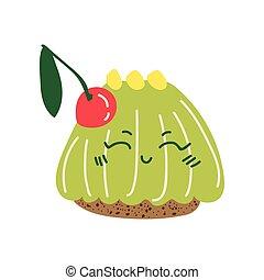 Feliz y delicioso dibujo animado de gelatina, adorable postre de kawaii con ilustración vector cereza