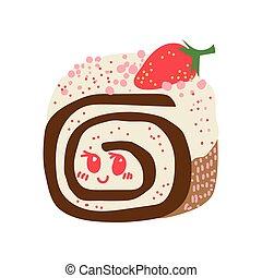 Feliz y delicioso dibujo animado del pastel, adorable ilustración del vector de postre de Kawaii