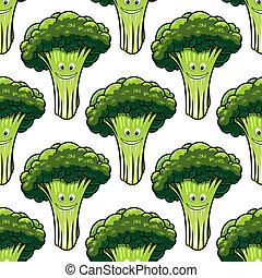 Feliz y saludable patrón de brócoli sin costura