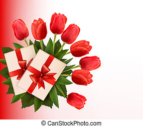 feriado, box., illustration., regalo, ramo, vector, plano de fondo, flores, rojo