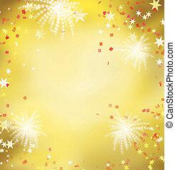 feriado, dorado, fiesta, celebración, tema, celebrar, rojo, fuego artificial, fondo.