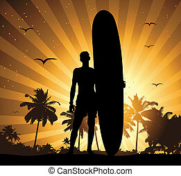feriado, verano, tabla de surf, hombre