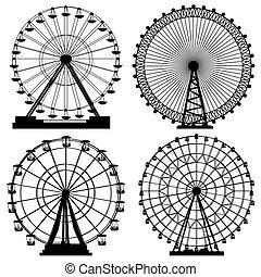 ferris, siluetas, conjunto, wheel.
