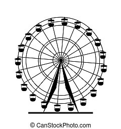 ferris, vector, silueta, wheel., illustration., colorido, atraktsion