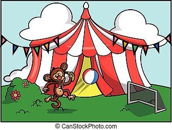 Festival de atracción del circo de monos