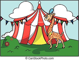 Festival de atracción del circo jirafa