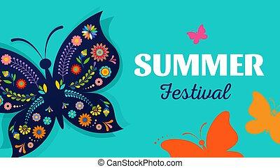 Festival de verano, justo con el diseño de mariposas - fondo vectorial