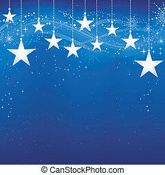 Festive oscuro fondo de Navidad azul con estrellas, copos de nieve y elementos grunge.