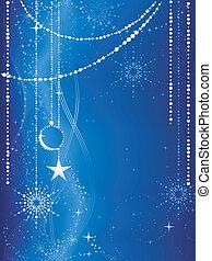 Festive pasado de Navidad azul con estrellas, copos de nieve, adornos y elementos grunge.